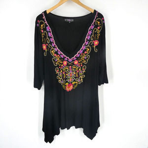 The Pyramid Collection | Embroidered Peasant Tunic Top, 1X